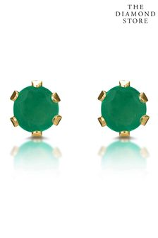 The Diamond Store Emerald Studded Earrings in 9K Yellow Gold 3 x 3mm