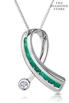 The Diamond Store Emerald And Diamond 0.02CT Ribbon Pendant Necklace in 9K White Gold