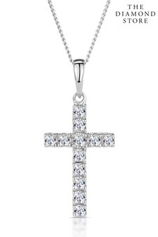 The Diamond Store White 0.22CT Cross Pendant Necklace in 9K White Gold