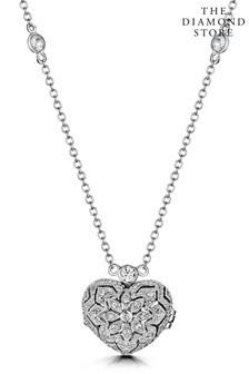 The Diamond Store White Tesoro Vintage Lab Diamond and White Topaz Heart Locket Necklace in 925 Silver