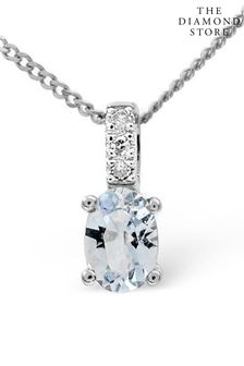 The Diamond Store Blue 0.34CT And Diamond Pendant Necklace in 9K White Gold