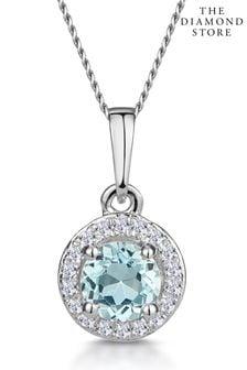 The Diamond Store Aquamarine Blue 0.38CT and Diamond Stellato Necklace in 9K White Gold