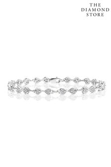 The Diamond Store White 0.25ct Heart Bracelet Set In Silver