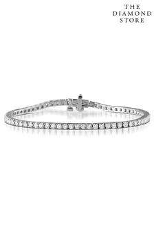 The Diamond Store White 3.00ct Chloe Lab Tennis Bracelet H/Si Set in 9K White Gold
