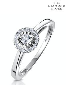 The Diamond Store White 0.20ct Masami Engagement Ring Pave Set Halo in 9K White Gold