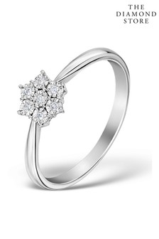The Diamond Store White 0.04ct Cluster Ring in 9K White Gold
