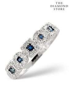 The Diamond Store Sapphire 0.18ct And Diamond Ring in 9K White Gold