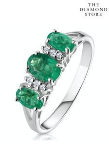 The Diamond Store Emerald 1.06ct And Diamond Ring in 9K White Gold