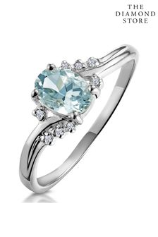 The Diamond Store Aquamarine Blue 0.70CT And Diamond Ring in 9K White Gold