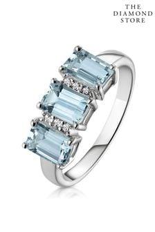 The Diamond Store Aquamarine Blue 1.65CT And Diamond Ring in 9K White Gold