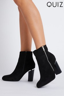 Quiz Black Faux Suede Zip Detail Block Heel Ankle Boot