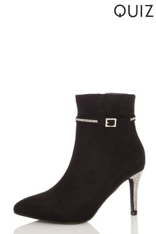 Quiz Black Faux Suede Pointed Toe Diamante Buckle Stiletto Heel Ankle Boot