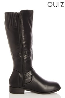 Quiz Black Faux Buckle Detail Knee Boot