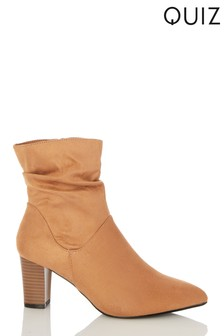 Quiz Brown Wide FIt Faux Suede Rouched Block Heel Ankle Boot