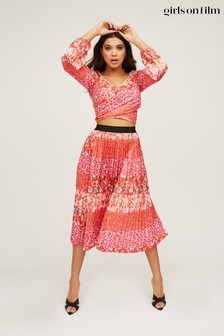 Girls On Film Red Xavier Mixed Print Pleated Midi Skirt Co Ord