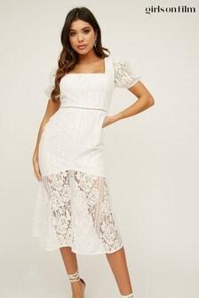 Girls On Film White Presley Lace Square Neck Pephem Midi Dress