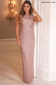 Sistaglam Gold Embellished Maxi Dress