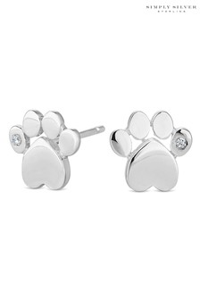 Simply Silver Sterling Silver Paw Print Earring