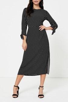 Dorothy Perkins Spot Tie Sleeve Midi Dress