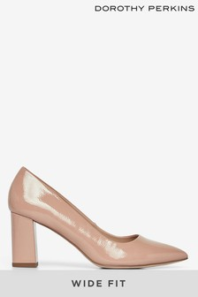 Dorothy Perkins Nude Wide Fit Block Heel Court Shoe