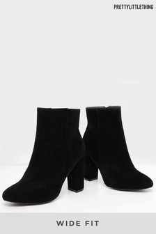 PrettyLittleThing Wide Fit Block Heeled Ankle Boots