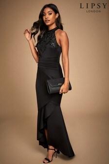 Lipsy Black Halter Cornelli Sequin Maxi Dress