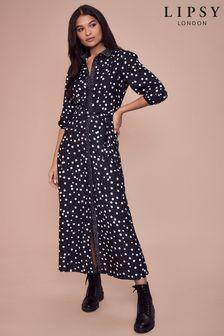 Lipsy Black Maxi Shirt Dress