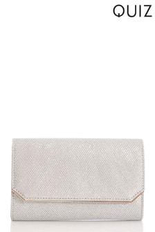Quiz Silver Textured Shimmer Bag