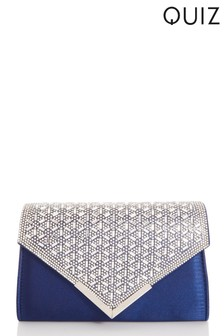 Quiz Navy Jewel Burst Flap Envelope Bag