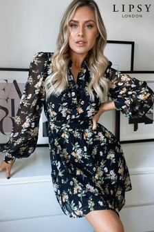 Floral Print Tie Waist Shirt Dress