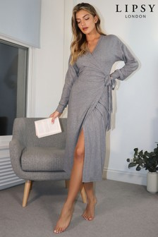 Lipsy Grey Cosy Wrap Midaxi Dress