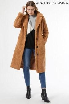 Dorothy Perkins Neutral Fudge Extra Long Teddy Coat