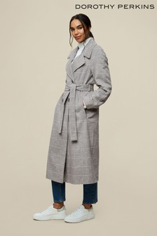 Dorothy Perkins Grey Check Double Breasted Wrap Maxi Coat