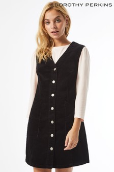 Dorothy Perkins Black Petite V Neck Cord Pinafore Dress