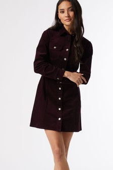 Dorothy Perkins Purple Petite Cord Shirt Dress