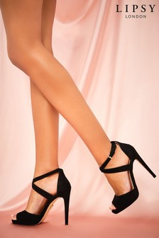 Lipsy Black Cross Over Concealed Platform Heels
