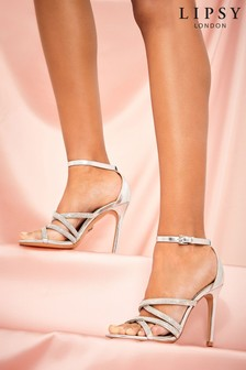 Lipsy Silver Diamanté Cross Strap Heeled Sandal