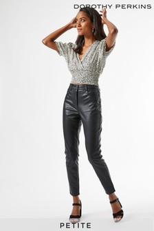 Dorothy Perkins Black Petite PU Jeans