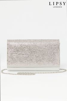 Lipsy Silver Foldover Diamante Clutch