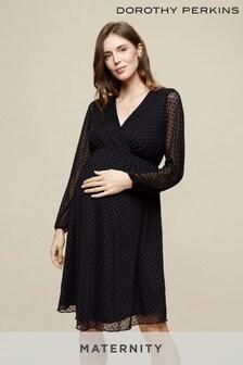 Dorothy Perkins Black Maternity Mesh Wrap Dobby Dress