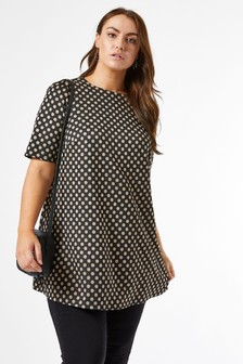 Dorothy Perkins White Check Curve Tunic