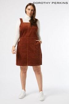 Dorothy Perkins Brown Curve Cord Pinafore Dress