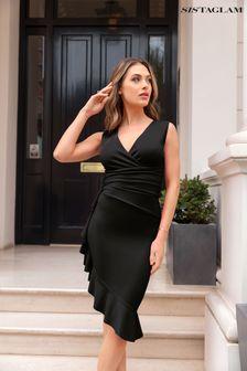 Sistaglam Black Frill Hem Wrap Midi Dress