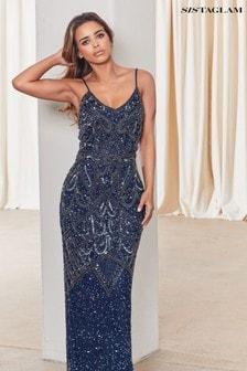 Sistaglam Navy Embellished Maxi Dress