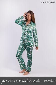 Personalised Sleep Satin Luxe Long Sleeve Pyjama Set by HA Designs