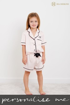 Personalised Mini Childrens Satin Short Sleeve Pyjama Set by HA Designs