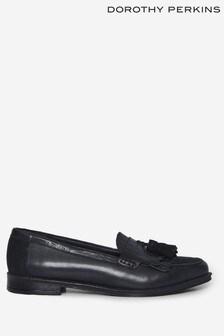 Dorothy Perkins Black Luster Loafer Shoe