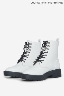 Dorothy Perkins White Lace Up Boot