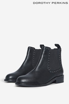 Dorothy Perkins Black Studded Chelsea Ankle Boot