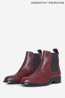Dorothy Perkins Red Studded Chelsea Ankle Boot